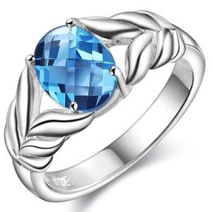 Other - NEW Men's Sea Breeze Blue Opal CZ Silver Ring 925